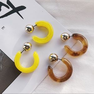 20mm Small Tortoise Hoop Earrings (Brown & Yellow)
